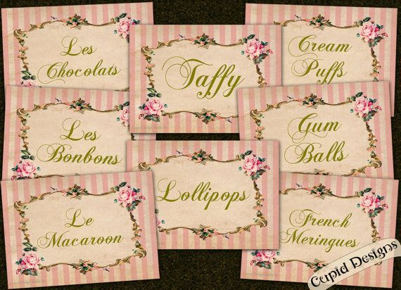 Labels. Candy labels. Buffet labels. Party decor. by CupidDesigns, $18.00