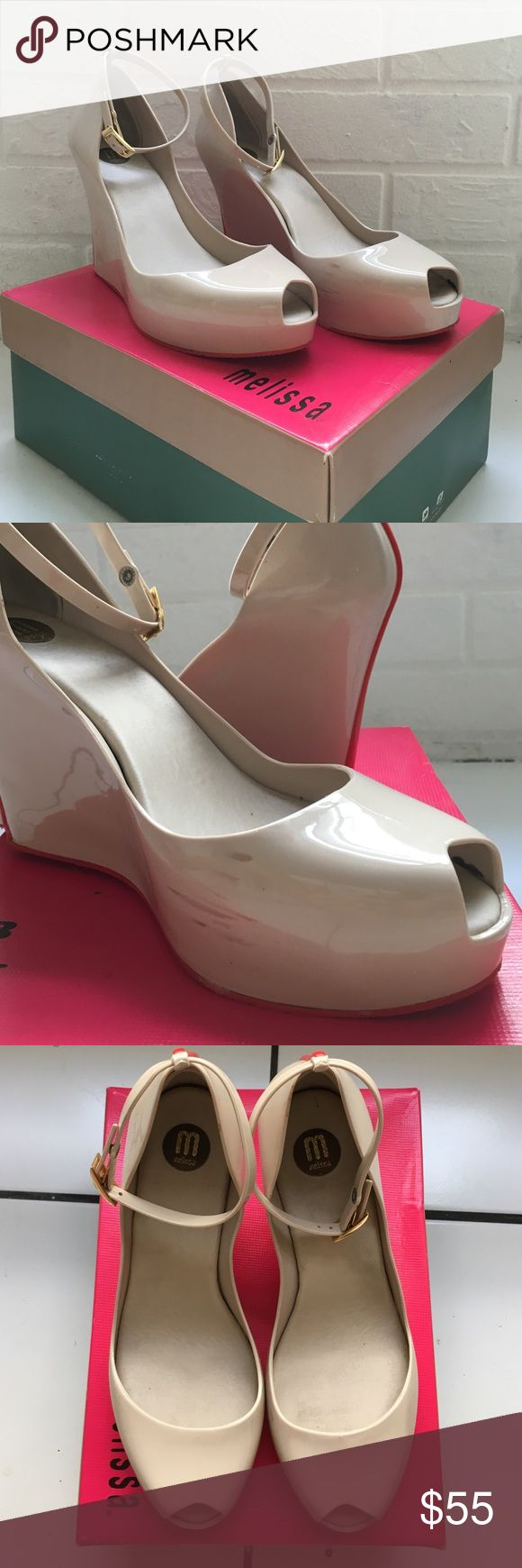 Cream High heels Melissa Jelly Shoes are extremely comfortable! No need to break these bad babies in. They're perfect for any occasion and have the beautiful and sexy red bottoms that we all enjoy! Melissa Shoes Platforms