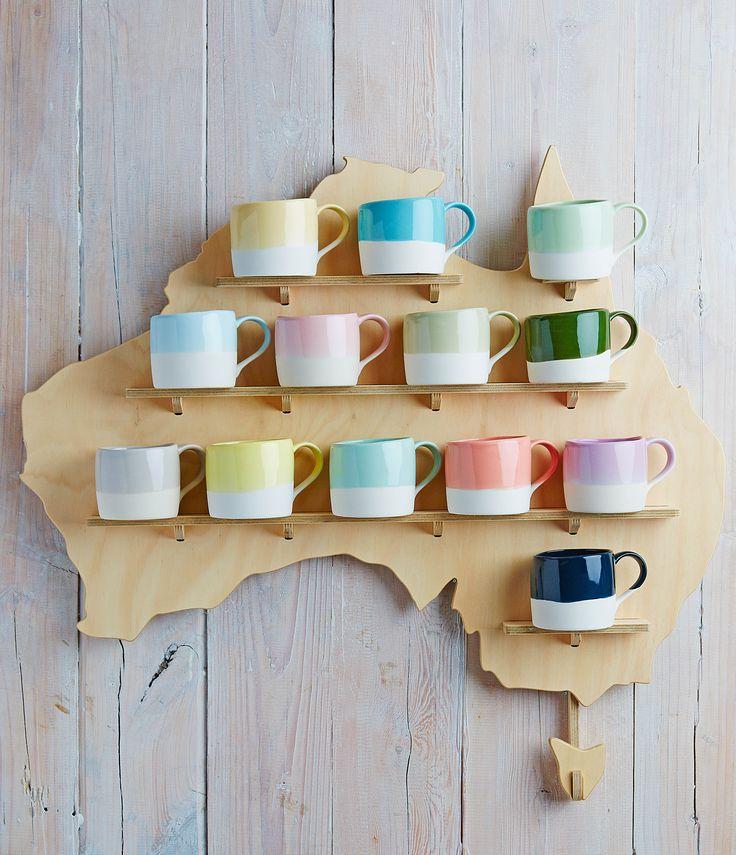 Robert Gordon Australia SS15 collection. Hey True Blue! Australian made Swatch mugs. Styling by Hannah and Kate Gordon. Photo by Jarrod Barnes Photography.