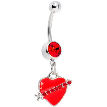 Red Heart With Arrow #Belly #Ring