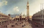 Piazza San Marco With The Basilica  by (Giovanni Antonio Canal) Canaletto