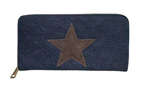9b7db2f2b90750 Stern Damen Portmonnaie Geldbörse Portmonee lang Reißverschluß viele Fächer  (blau). Stern Portmonnaie.