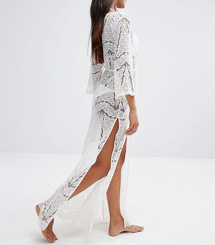 Bestyou Women's Sexy Crochet Cover up Tunic Lace Long Maxi Boho Dress US Size XS-M (Beige) at Amazon Women's Clothing store: