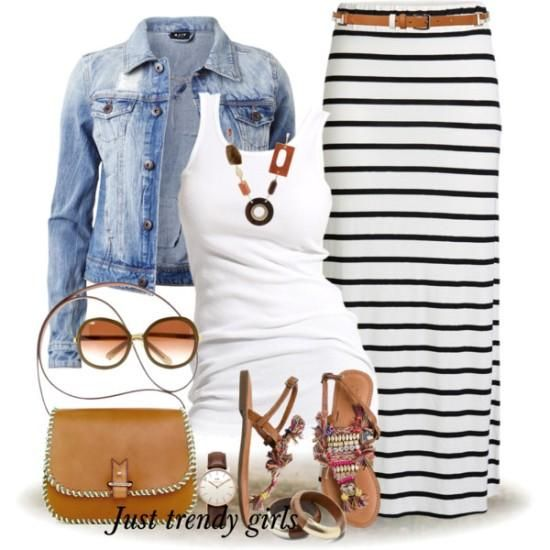 Maxi tube skirt outfit Stripes maxi skirts styling ideas http://www.justtrendygirls.com/stripes-maxi-skirts-styling-ideas/