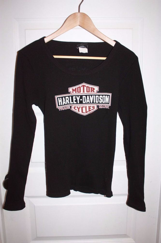 Women's Harley Davidson Long Sleeved Shirt - Size Large - Black - EUC! #HarleyDavidson