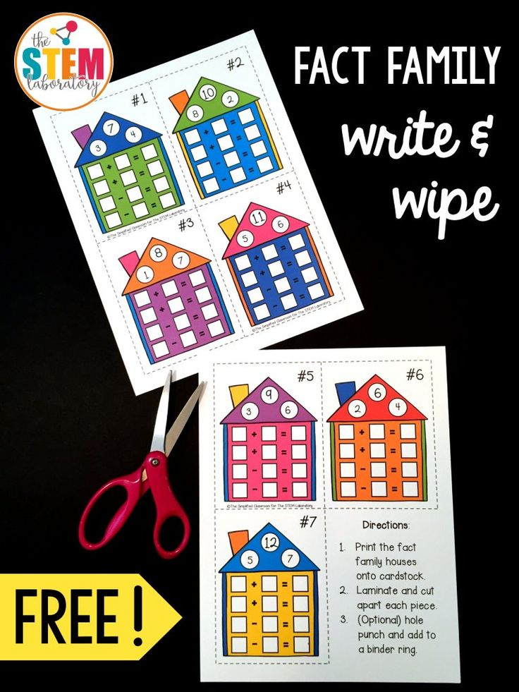 Free Fact Family Write and Wipe Cards. Awesome addition and subtraction activity! Would make a great math center.