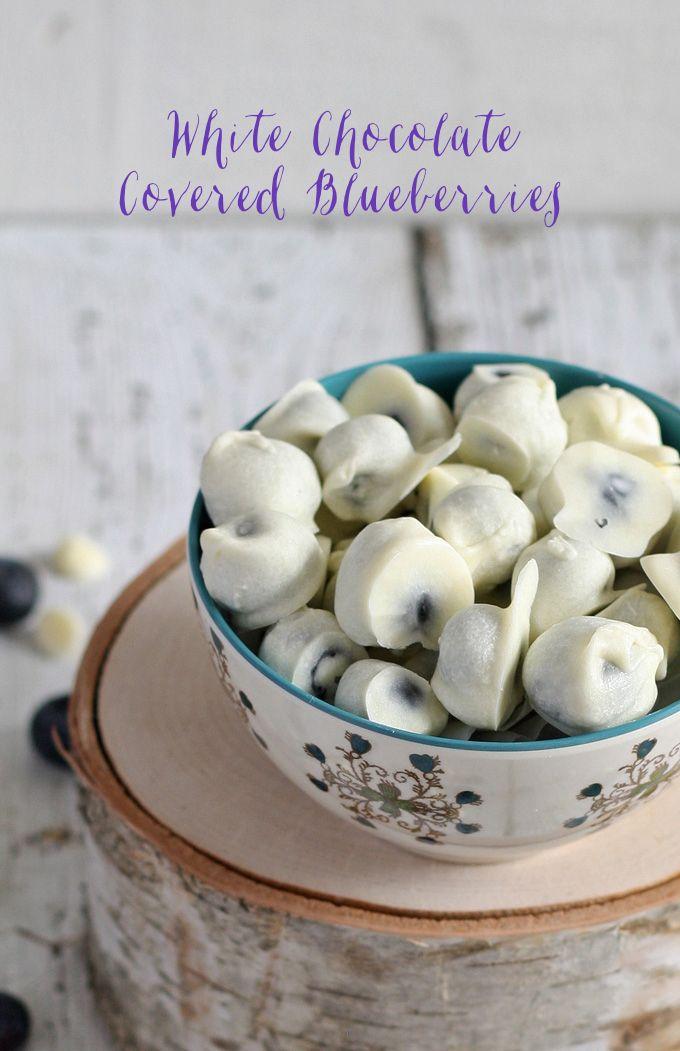 White Chocolate Covered Blueberries | www.honeyandbirch.com #easy #dessert #snack