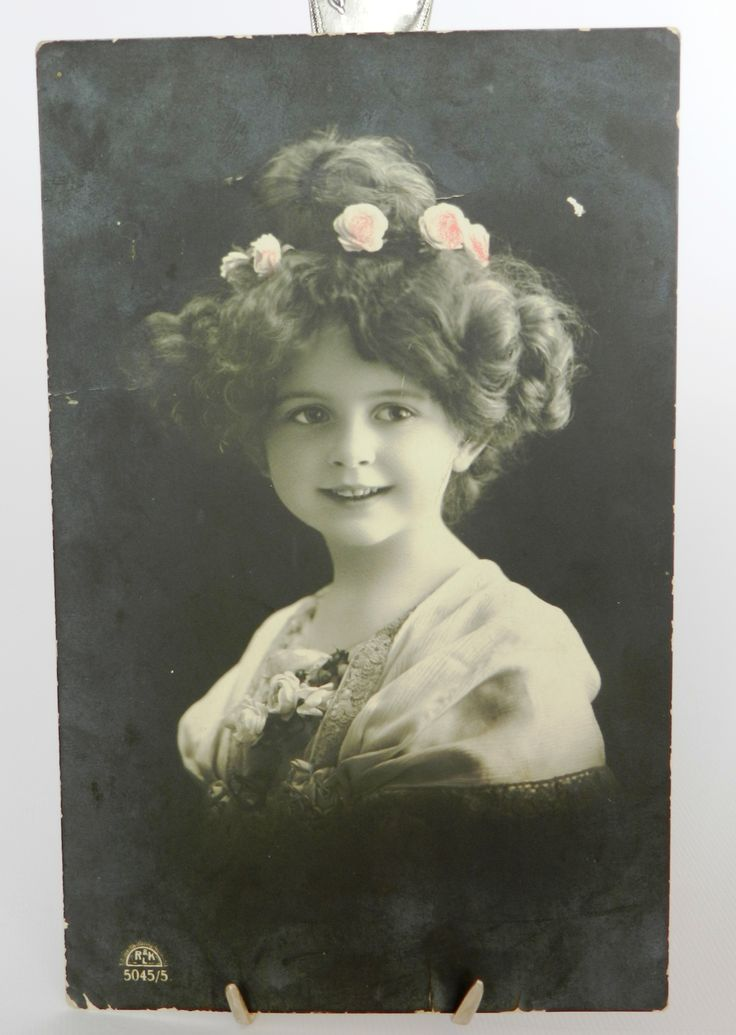 Vintage card with girl