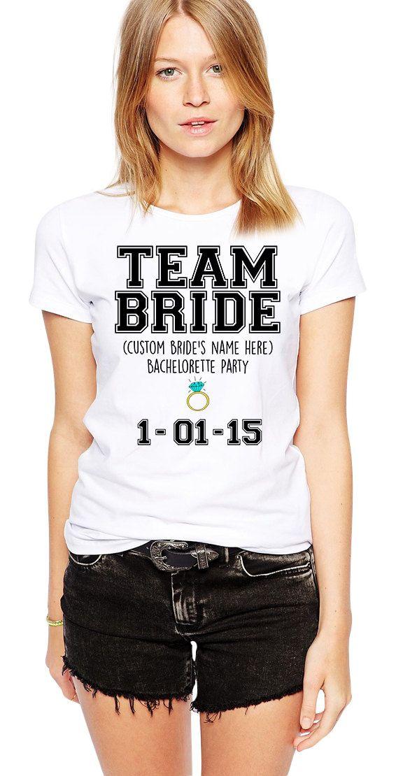 CUSTOM Team Bride Tshirt - CUSTOM Bachelorette Party Shirts - Custom Wedding Tee - Personalized Bride - Bridal Shower - Bridesmaids Shirt by Umbuh