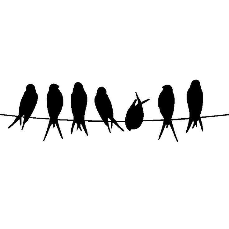 Sticker muraux pour portes - Sticker Oiseaux sur un fil   Ambiance-sticker.com