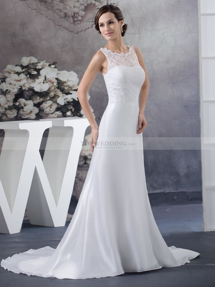Neryss - Sleeveless Lace and Taffeta Bridal Gown in Princess Cut