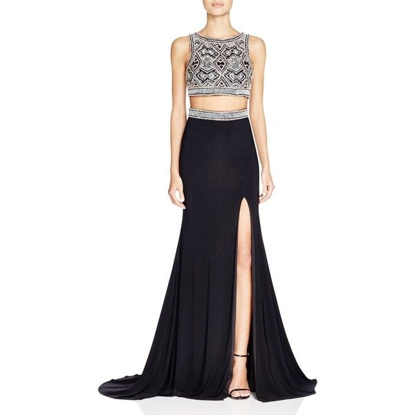 Mac Duggal Two-Piece Beaded Gown ($650) ❤ liked on Polyvore featuring dresses, gowns, black, beaded evening gowns, beaded ball gown, two piece evening dresses, 2 piece dress and two piece ball gowns
