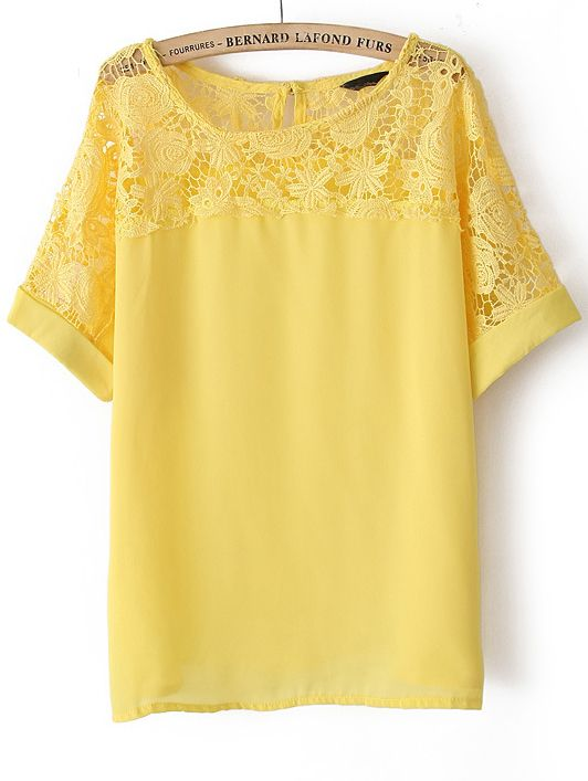 Yellow Short Sleeve Lace Hollow Chiffon Blouse - Sheinside.com