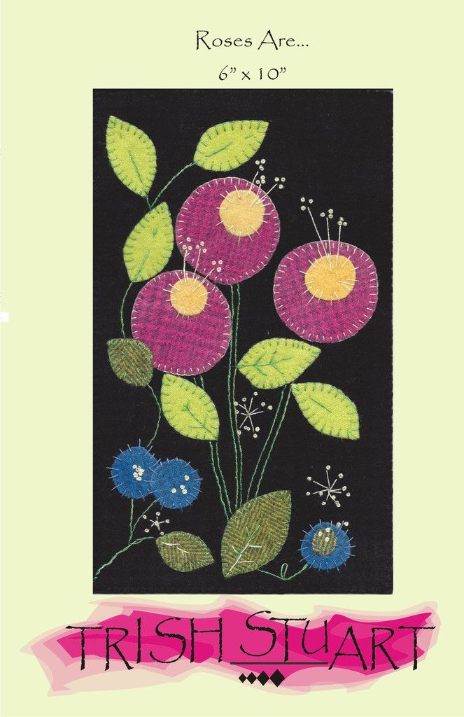 """Felted wool applique pattern finishes to 6"""" x 10"""" hanging, suitable for all…"""