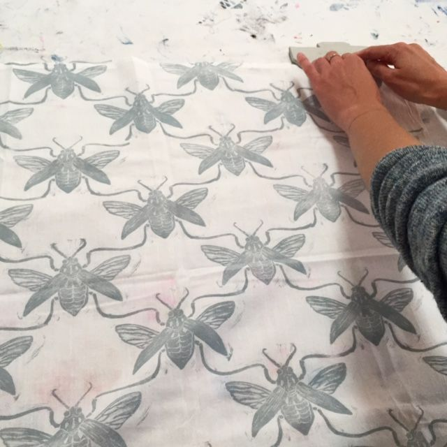 Wasps repeating block printed pattern by Chamisa Kellogg in Jen Hewett's Block Printing on Fabric class