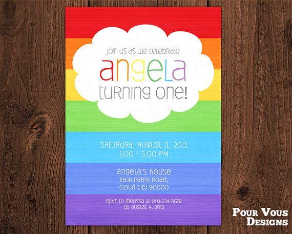 Printable 1st Birthday Rainbow Invitation on Etsy, $15.00