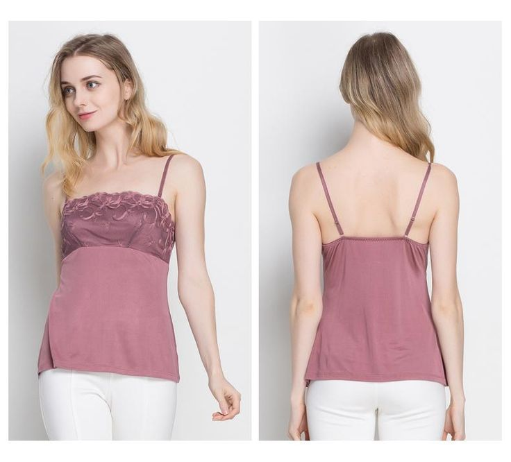Women's 100% Pure Silk Camisole with Embroidery