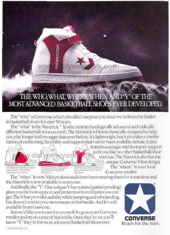 New Converse Basketball Shoes   Converse Maverick Basketball Shoe Y-Bar Design 1985 : DeFY. New York ...