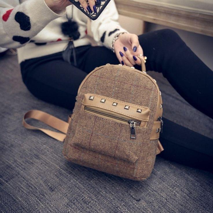 Женский мода рюкзак контракт восстановление заклепки рюкзак кампус рюкзак мешок LY112 купить на AliExpress