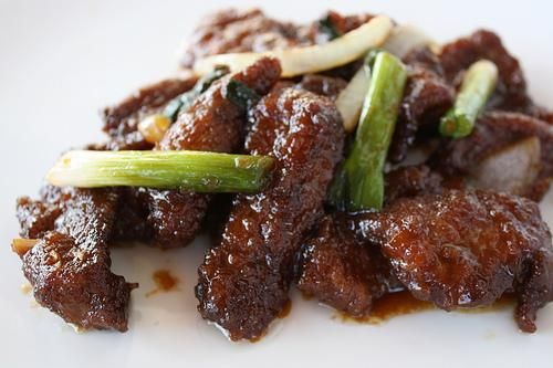 Actual Pf Chang's Mongolian Beef Recipe. Makes only one large or 2 smaller portions. Double or triple recipe for family. Use olive instead of soy oil. Use other cut of beef marinated instead of tenderloin.