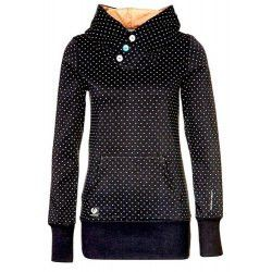 Chic Hooded Long Sleeve Polka Dot Pocket Design Women's Hoodie