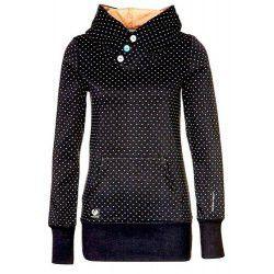 Chic Hooded Long Sleeve Polka Dot Pocket Design Women's Hoodie