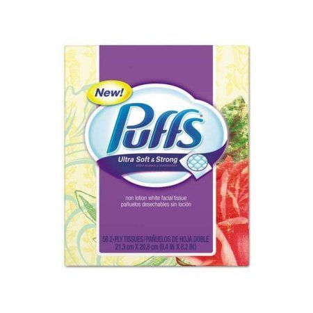 Puffs Ultra Soft & Strong Facial Tissues, White, 56 Sheets/Box, Multicolor