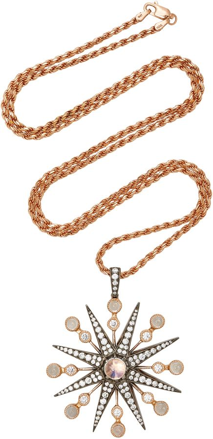 Colette Jewelry 18K Gold Diamond and Moonstone Necklace