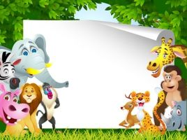 set of cartoon animal paradise vector