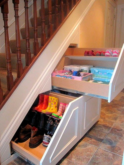 shoe storage ideas, under the stairs space