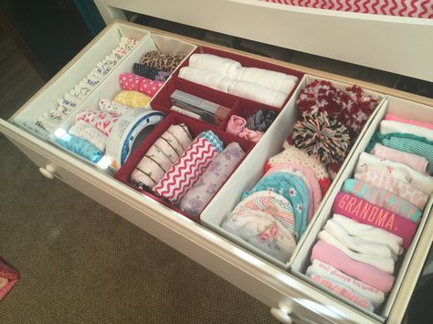 How to organize an infant dresser with tutorials on making drawer dividers