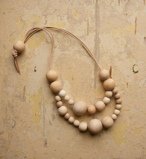 Wooden necklaces from Le Voyage Creatif--making it yourself is a no-brainer, and would cost less than $5 with wooden beads and leather from a craft store.