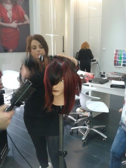 Natalie busy with her client