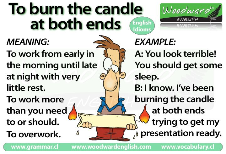 English idiom: Burning the candle at both ends - its meaning and example.