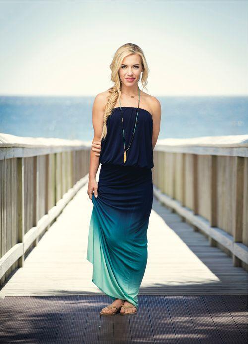 Navy ombre maxi dress. #summer #beach #fashion