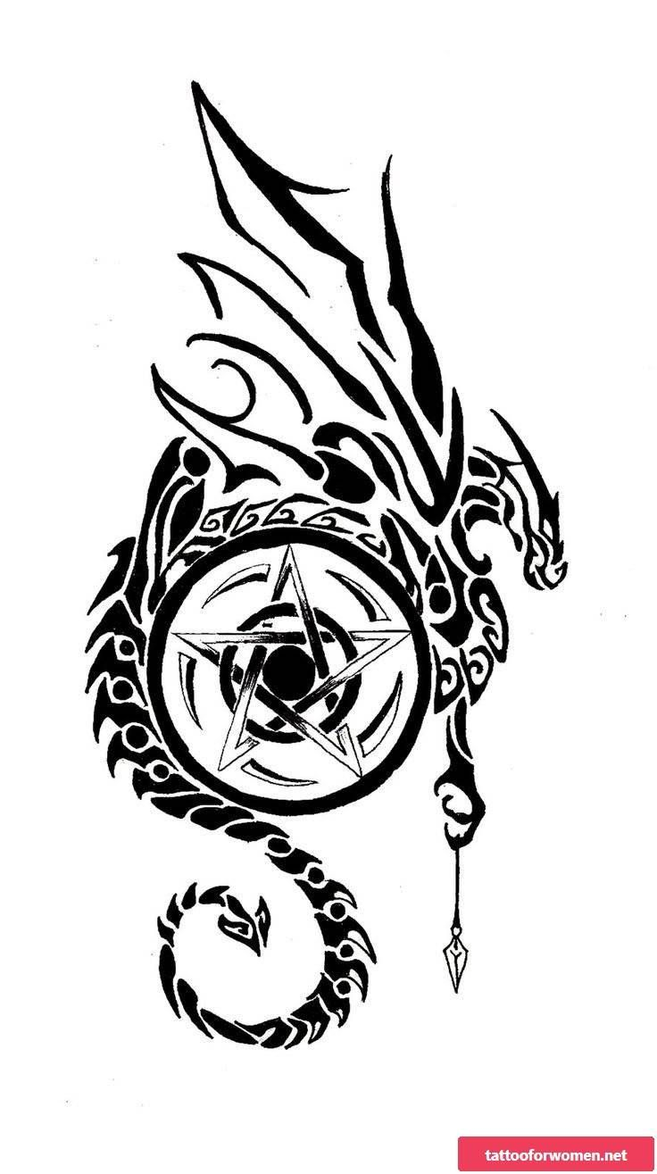 Pentagram Tattoo Meaning And Cool Examples Pentagram Tattoo Vorlagen Zum Ausdrucken Tattoo Pentagram Tattoo Tribal Dragon Tattoos Dragon Tattoo Designs