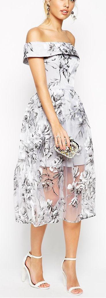 off the shoulder floral organza midi dress: