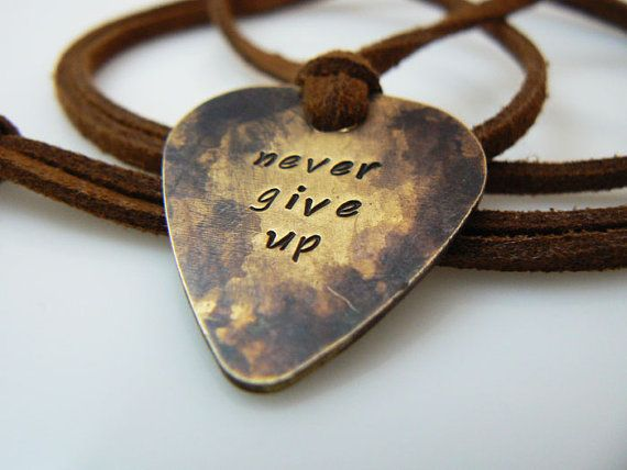 Guitar pick necklace, hand stamped  , Plectrum , never give up , silver , gold , antique gold