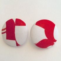The african fabric earring comes in red and white color, african fabric and silver material.