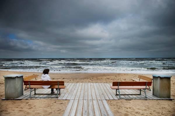 Inte alltid sommar och sol. Stranden i Ängelholm.