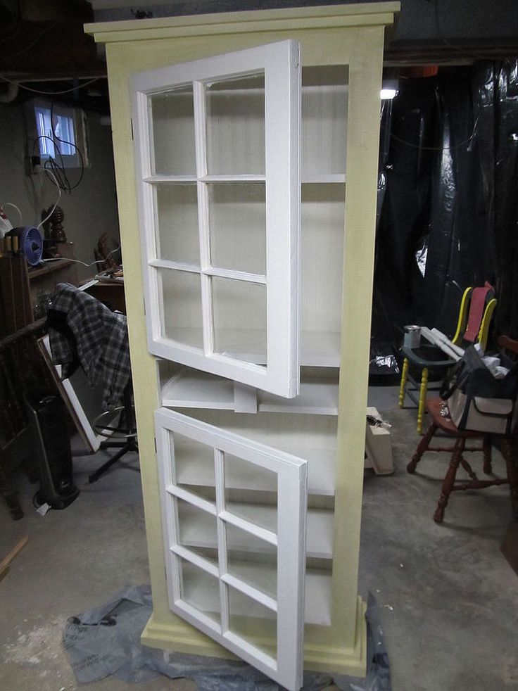Hometalk :: Kitchen Cupboard From Windows and Old Waterbed Lumber...i knew there was a reason i save my little old windows.