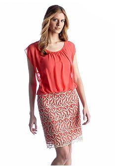 Luxology� Blouson Dress with Metallic Lace $69 TM