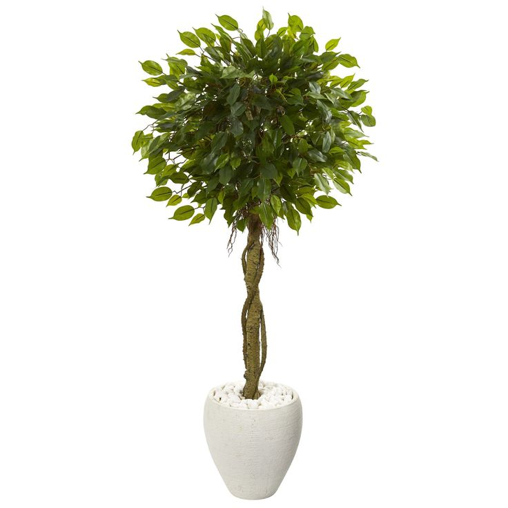 Nearly 4.5' Ficus Artificial Tree in White Oval Planter UV Resistant