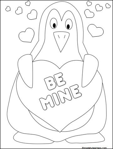 This is a valentines day penguin coloring sheet available for free on mad ebyteachers com