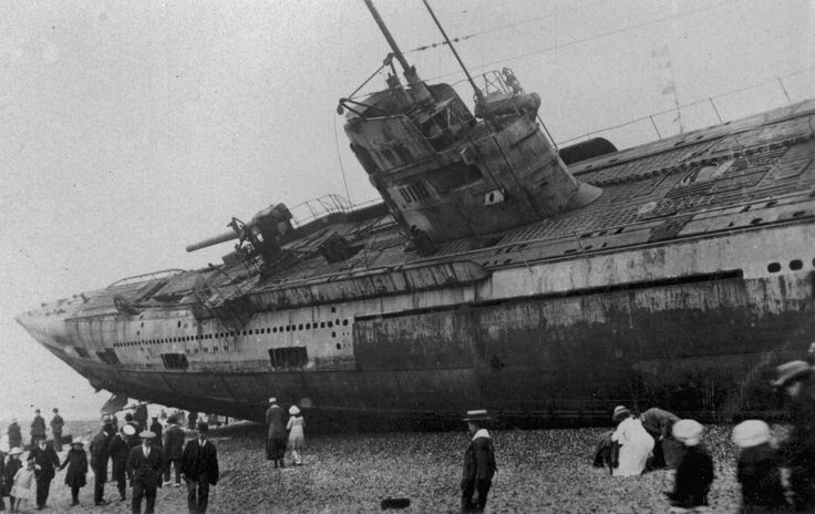 Imperial German Navy SM U-118 washed ashore at Hastings, Sussex unidentified photographer, 1919; wiki