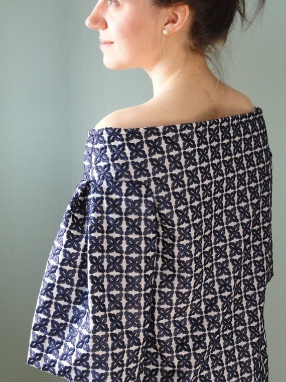 Vintage Inspired Navy Blue Embroidered by kristinecookdesigns, $85.00