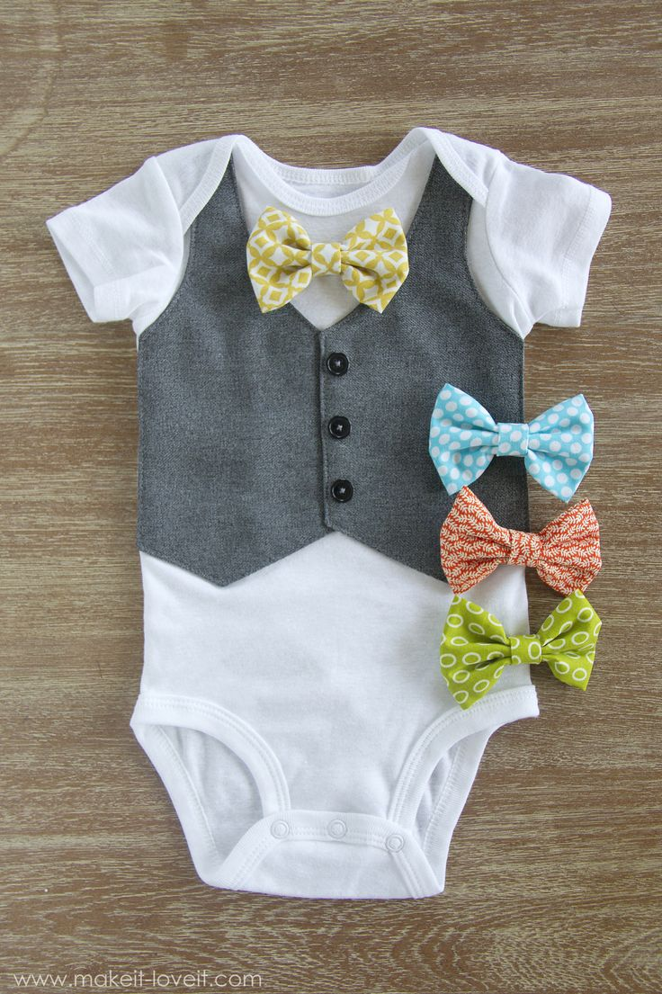 DIY Faux Vest Onesie...with Interchangeable Bowties!   via Make It and Love It