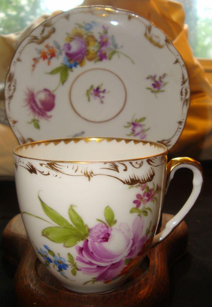 Antique Richard Klemm Dresden Demitasse Cup Saucer Florals