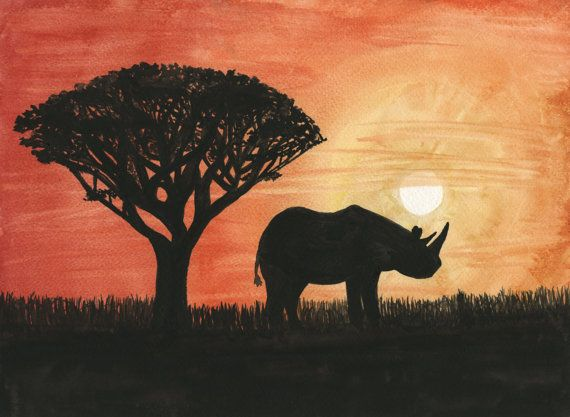 African Rhino Sunset Hand painted original 11x15 watercolor painting featuring an extinct black Rhino at sunset in sub-Saharan Africa. Brings
