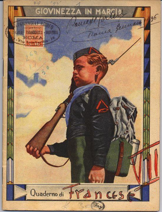 Un quaderno del 1935. Il balilla studia il francese.